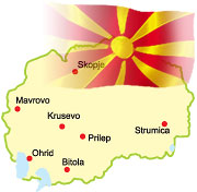 Small map of Macedonia with some cities